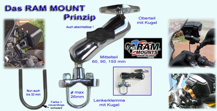 Ram Mount Motorrad Halterungen Kugelflex Bikehalter Gps Navi